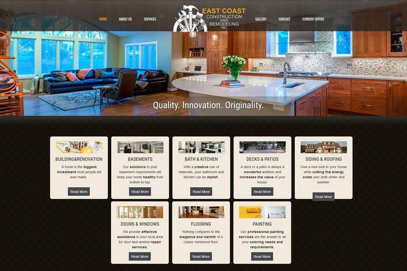 East Coast Renovations Web design project